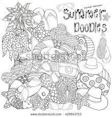 Hot Set Of Hand Drawn Summer Doodles ElementsStarfish Lifebuoy Sunglasses Ball