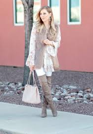 Bohemian Style Brown Faux Fur Vest Taupe Over The Knee Boots