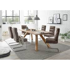esszimmer komplett set 7 tlg den haag 119 massivholztisch im skandinavischen stil freischwinger aus kunstleder in taupe