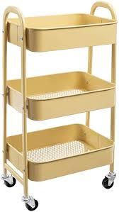 doeworks rollwagen mit 3 etagen metallregal mit rollen und griffen für küche make up badezimmer büro khaki gelb