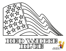 Print Picture Red White Blue American Flag At Coloring Pages For Kids
