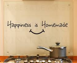 Wall Decal Quote Vinyl Sticker Art Removable Happiness Is Homemade Kitchen KI21