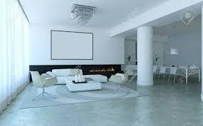 weiß minimalistischen lounge stil wohn und esszimmer mit kamin