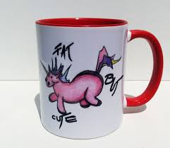 Fat But Cute Funny Unicorn Coffee Mug Tea Cup Handpainted Design