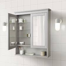 hemnes spiegelschrank 2 türen grau 83x16x98 cm
