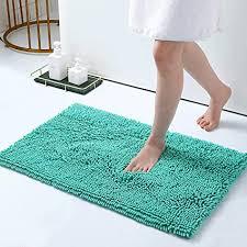 homaxy rutschfeste badematte mikrofaser chenille badezimmer badteppich saugfähige hochflor badvorleger 50 x 80 cm türkis