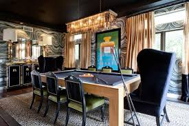 Masculine Pool Table Dining Room With Art Deco Elements