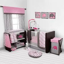 Bacati Elephants Pink Grey 10 pc crib set without Bumper Pad