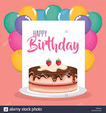 happy birthday karte mit kuchen und luftballons helium stock