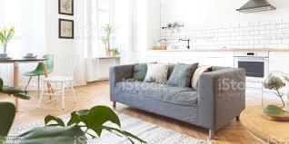 moderne und design scanidnavian offener raum mit küche und wohnzimmer sonnige und helle raum mit weißen ziegelwände viele pflanzen und sofa stockfoto
