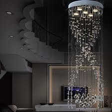 luxus spirale treppen kristall kronleuchter rund led villa wohnzimmer lange deckenleuchte modern concise kristall hängeleuchte