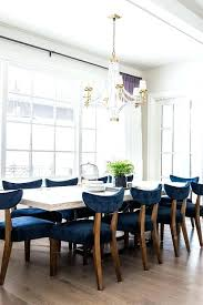 White Wood Dining Table With Blue Velvet Chairs