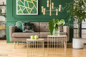 elegantes grünes und goldenes wohnzimmer mit komfortablem braunem sofa couchtischen und goldenem kronleuchter stockfoto und mehr bilder abstrakt