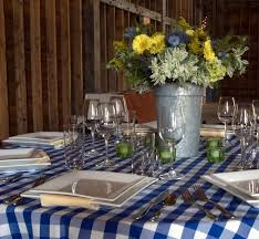Wedding Reception Blue White Checked Table Setting At The West Monitor Barn