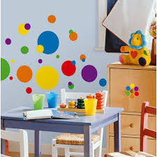 DecorationsIncredible Kids Play Room Design With Colorful Polka Dot Wall Decals And Wooden Drawer