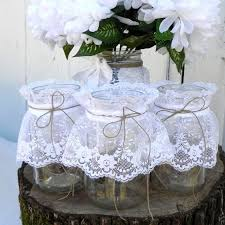 Items Similar To 4 Rustic Lace Mason Jars Centerpiece Flower Vase Candy Place Card Holders Table Numbers On Etsy