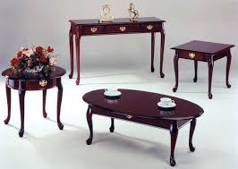 Furniture Dark Brown Oval Rustic Cherry Wood Queen Anne Coffee Table Designs For Living Room