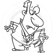 Cartoon Man Gum Shoe Black and White Line Art