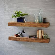 Reclaimed Wood Floating Shelves And Grey Color Walls
