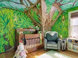 Huge Tree On Tropical Forest Wall Decals Jungle Theme Baby Nursery Amazing Looking With Chicken And Zebra Doll