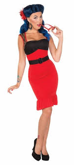 Scarlet Rose Retro 50s Rock 40s Pin Up Pinup Girl Womens Costume