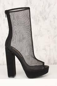 black peep toe mesh platform pump chunky high heel booties