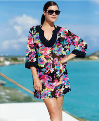 anne cole floral print tunic cover up lyst