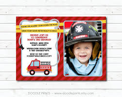 Fire Truck Invitation Picture Fire Fighter Birthday Party | Etsy