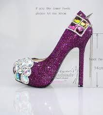custom design punk rock spikes with purple crystal high heel