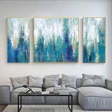 3 stück wand kunst leinwand bilder malerei ölgemälde auf leinwand blau weiß abstrakte malerei wand bilder für wohnzimmer