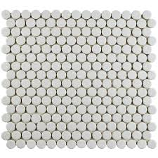 Home Depot Merola Penny Tile by Merola Tile Hudson Penny Round Crystalline Grey 12 In X 12 5 8 In