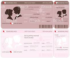 Boarding Pass Ticket Wedding Invitation Template Royalty Free