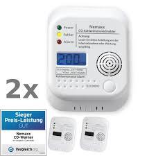 2x nemaxx co melder kohlenmonoxid gasmelder gaswarner rauchmelder nach din en50291