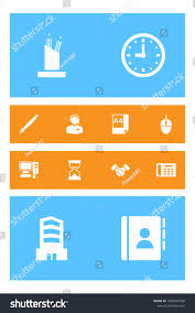 bureau call center set 12 bureau icons set collection เวกเตอร สต อก 1029047938
