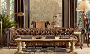 Restoration Hardware Lancaster Sofa Leather by Dark Chesterfield Couch My Future House Pinterest