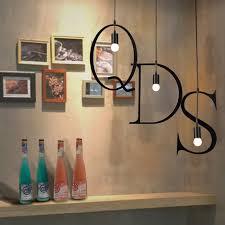 Besi Surat Bahasa Inggris Industri Lampu Gantung Hitam LightsLighting Droplight E27 Dalam Ruangan Rumah Dekorasi DIY