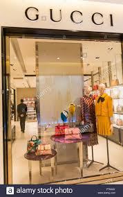 Paris France Shopping French Department Store Le Printemps Gucci Luxury Clothes Brand Shop Front Window Display Sign