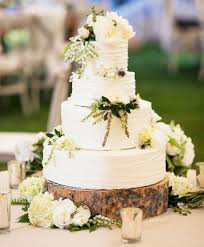 Rustic Wedding Cake With Fresh Flowers And Herbs