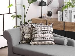 cotton cushion 45 x 45 cm hentepe beige and black ch