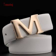 Designer Belts Men High Quality M Buckle Luxury Belts Men BLACK