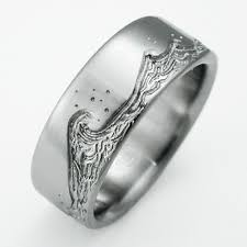 Eastbourne 3 titanium ring with waves