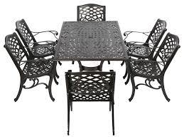 Cast Aluminum Outdoor Sets by Odena Outdoor Cast Aluminum Rectangle Bronze Dining 7 Piece Set