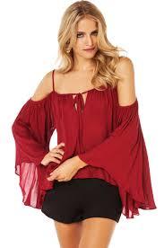 bohemian ruffle blouse peach chevron blouse