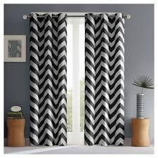 chevron black and white curtain panel pair