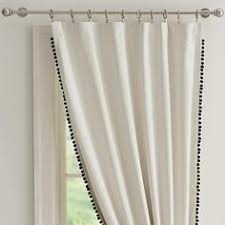pair linen pom pom sheer curtain 52 choose your length two