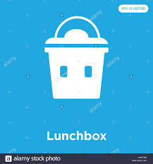 Lunchbox Vector Icon Isolated On Blue Background Sign And Symbol