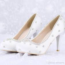 Closed Toe White Satin Wedding Shoes Rhinestone Prom Party High