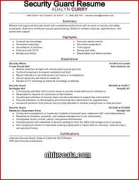 Sample Resume Hotel Security Officer Best Of Apartment Guard Sec For