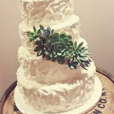 Rustic Stucco Buttercream Wedding Cake With Fresh Succulents