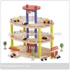 2015 high quality wooden toys car parking garage toys for kids